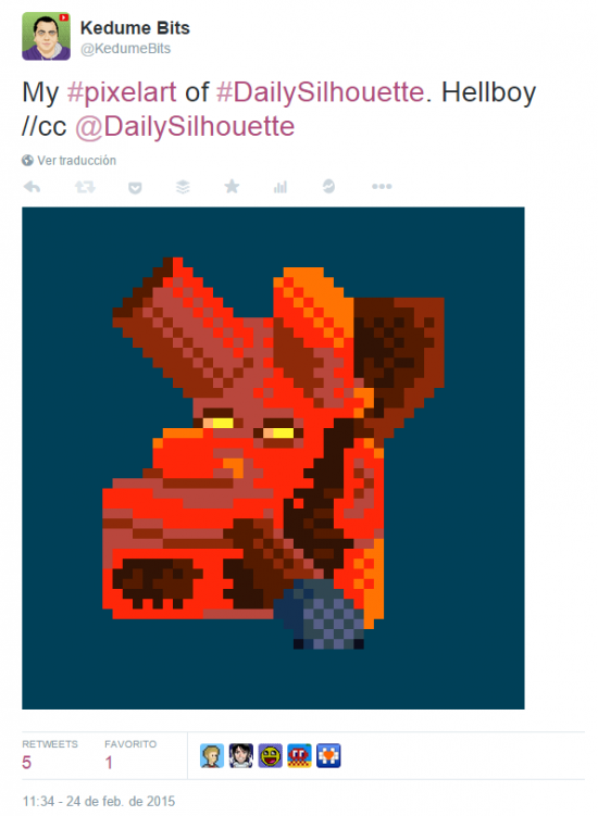 Kedume Bits en Twitter   My  pixelart of  DailySilhouette. Hellboy   cc  DailySilhouette http   t.co JfA8HhwQOT